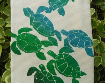 Honu Ohana (Green Sea Turtle Family) Hawaiian Kitchen Towel