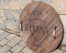 """Hand crafted and personalized """"Ballard Design"""" inspired wine barrel tray"""
