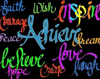 Clipart - Inspirational Words - Digital Download