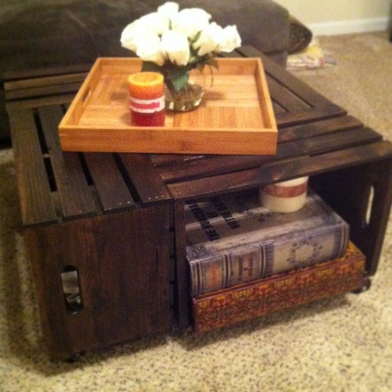 Items Similar To Rustic Wine Crate Coffee Table On Etsy