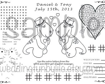 Wedding Activity Page PDF. Kids, Printable. Gay, LGBTQ. Custom Favor, Coloring. Your Names & Date. You Choose Wedding Couple's Outfits.