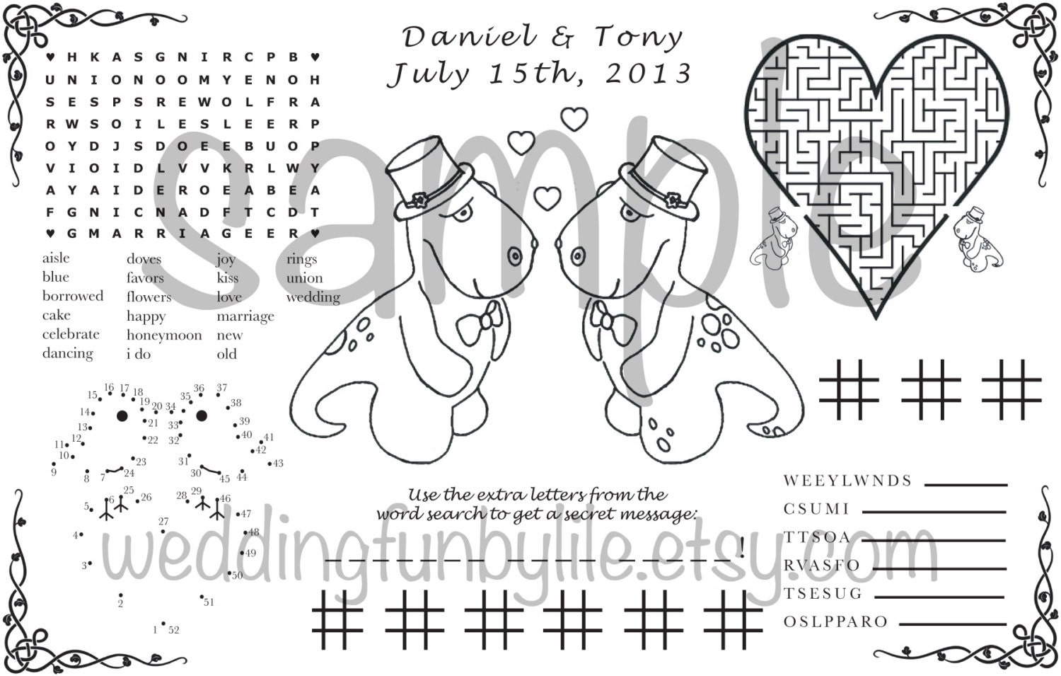 wedding activity page pdf kids printable lgbtq custom