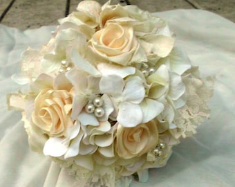 "Rustic Wedding Bouquet, Vintage, Lace, Ivory, White, 10"" Romantic, pearls, Fabric Flower Bouquet, weddings"