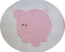 instant download embroidery  applique piggy bank
