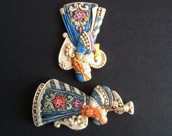 Wax German Handpainted Angels (A set of two)