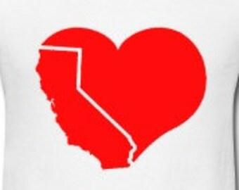 "California Love Heart Custom 5"" Vinyl Decal Widow Sticker for Car, Truck, Motorcycle, Laptop, Ipad, Window, Wall, ETC"