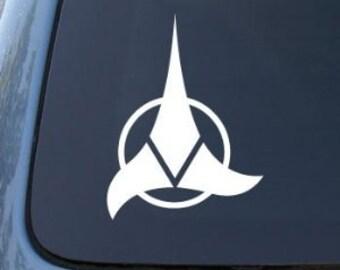 "Klingon Emblem Logo Star Trek 6"" Vinyl Decal Widow Sticker for Car, Truck, Motorcycle, Laptop, Ipad, Window, Wall, ETC"