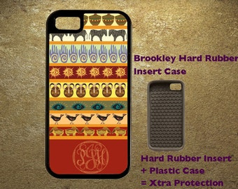 Rich, Bold, Colorful Primative Pattern With Monogram iPhone Case 4, 4s, 5, 5C, 6, 6+ and Samsung Galaxy 3, 4, 5, 6, Edge