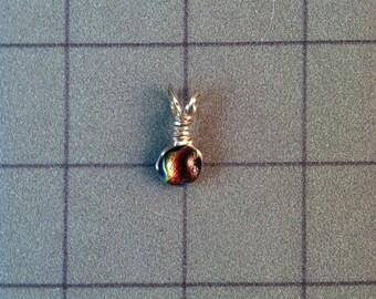 Mini wire wrapped fused glass pendant