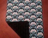 2 Owl Burp Cloths for Boys. Unique Baby Gift.