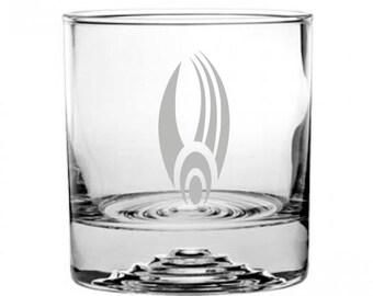 Star Trek Borg Etched Rocks Glass Personalized
