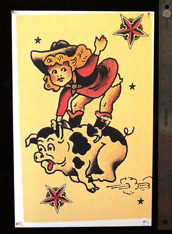 11 x 17 Little Piggy Cow Girl Sailor Jerry Style Flash Poster