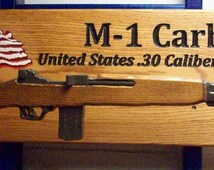 Custom Carved Military Theme Gun Rack and Wooden Replica Gun with Challenge Coin  SPECIAL COMBO!