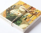 "Wooden coasters ""The Kiss"" - A fragment of Gustav Klimt's painting, set of 2 - Art, home decor, handmade, gift ideas, natural wood"
