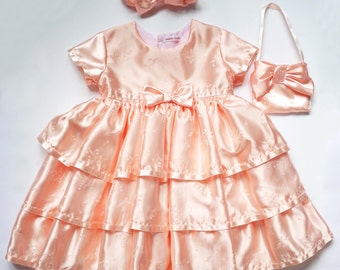 Peach Satin Tiered Bridesmaid Dress ( Only 1 Left in Size  18 - 24 mths )