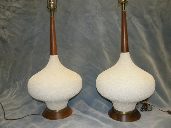 Pair Table Lamp Lamps Mid Century Modern By Ironnwoodartifacts