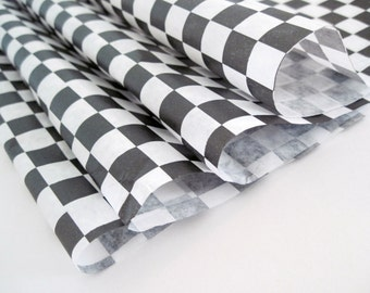 """Wax Paper-50 Sheets of Black and White Checkered Wax Paper-Deli Sandwich Wrap-Box and Tray Paper Liners-Black Plaid Wrapping Paper 12"""" x 12"""""""