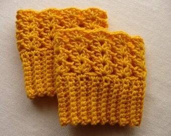 Mustard Yellow Boot Cuffs - Reversible Boot Toppers - Boot Socks - Leg Warmers - Crochet