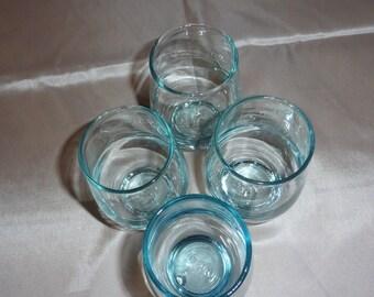 4 Mid-Century AQUA GLASSES