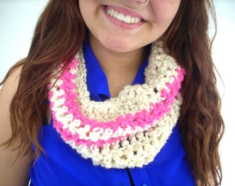 Cream and Poppin' Pink neck warmer, cowl collar, scarf