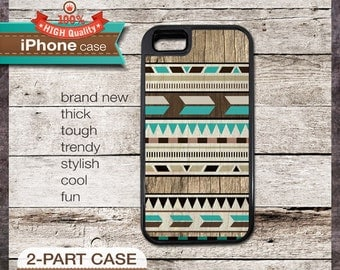 iPhone 6, 6+, 5 5S, 5C, 4 4S, Samsung Galaxy S3, S4 Modern Graphic No. 47a Teal Aztec Tribal Geometric design