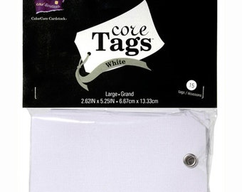 """Large White Tags with Metal Grommet, package of 15, 2.63"""" x 5.25"""""""