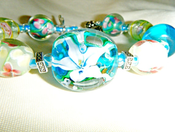 Secret Garden Glass Lampwork Bracelet in cool Blues and Green