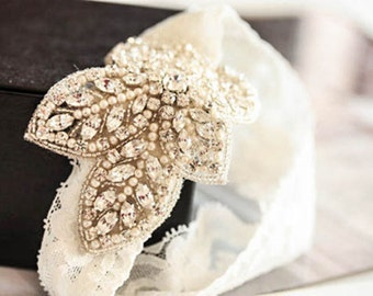 Lace embellished bridal garter set  - Fleur  (Made to Order)