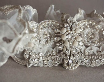 Bridal Garter Set   - SAN Silver  (Made to Order)