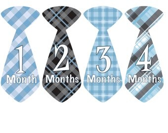 Baby Month Stickers Baby Monthly Milestone Stickers Blue Black Plaid Preppy Boy Tie Month Stickers Baby Shower Gift Photo Prop Dylan