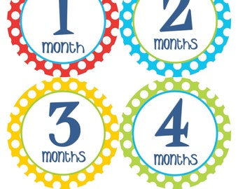 Monthly Milestone Stickers Baby Month Stickers Baby Boy Blue Green Red Yellow Month Bodysuit Stickers Baby Shower Gift Photo Prop - Nick