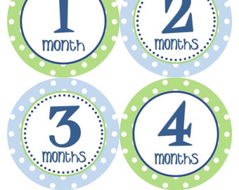 Baby Month Stickers Baby Boy Monthly Milestone Stickers Blue Green Boy Stickers Month Bodysuit Stickers Baby Shower Gift Photo Prop Trip