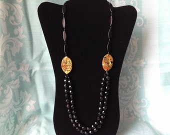 Vintage Long Black and Gold Beaded Necklace Bow Closure