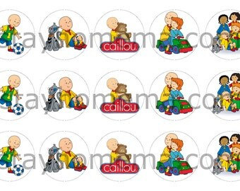 INSTANT DOWNLOAD One Inch 4x6 Bottlecap Images: Caillou