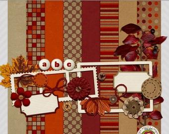 Autumn Blossom Mini Digital Scrapbooking Kit