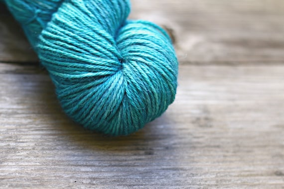 baby alpaca and tusseh silk hand-dyed yarn in aqua blue green