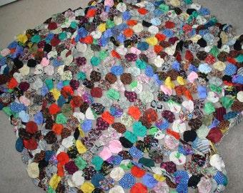 Hand sewn yoyo silk queen size quilt top