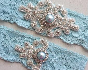 RACHEL II - Light Blue Stretch Lace Garter, Pearl Wedding Garter Set, Rhinestone Crystal Bridal Garters, Something Blue