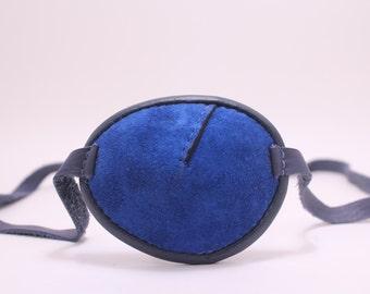 Blue, soft leather eye patch