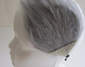 Gray Gatsy headband, 1920s silver headband, gray feather fascinator, silver beaded flapper hair accessory, Art Deco headband, gray feather