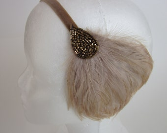 1920s Dress Headband, Flapper Dress Hair Accessories, Beige Feather,  Speakeasy Party