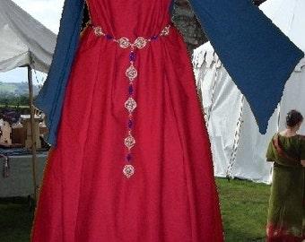 FREE SHIP Renaissance Costume Medieval Gown SCA Garb RedNavy Sideless Surcote 2 pc Set lxl