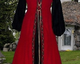 FREE SHIP Renaissance Medieval Costume SCA Garb BloodRed and Black Ctn 2pc lxl