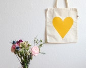 Eco Love Heart Tote Bag - Mustard Yellow