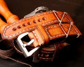 24 mm Medium Brown Leather strap with cream stitching and SS buckle...