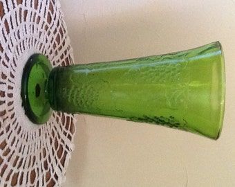 """Vintage Indiana Glass Co. Harvest Grape Green Glass Vase-10"""" tall"""
