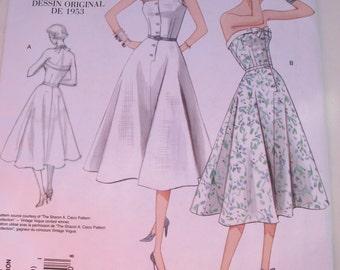 1950s Dress Pattern - Vogue Vintage V2961 1953 Dress Pattern Reissue Sizes 4-10