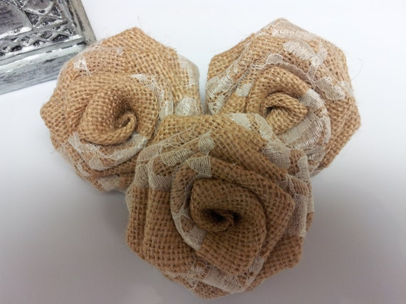 Burlap Flowers with Lace