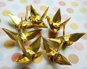 New Arrival 10 x 10cm 200 Origami Paper Cranes Craft Crane Paper Goods for Wedding, Christmas, Festival, Anniversary Decor -- Gold