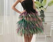 Custom Made Pretty Strapless Black Colorful Bows Fluffy Organza Formal Short Evening/Prom/Party/Bridesmaid/Homecoming/Cocktail Dress Gown
